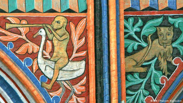 Фрески на стенах центрального нефа храма Николая Чудотворца в Штральзунде