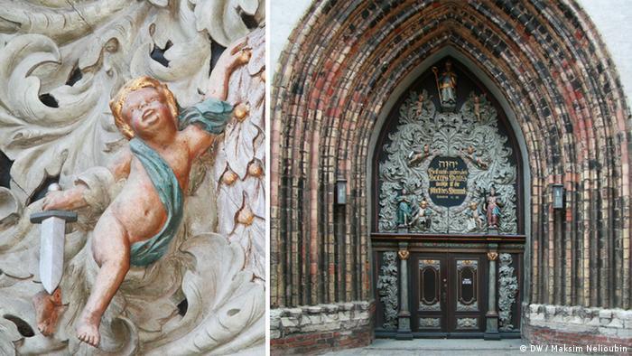 Готический главный портал храма Николая Чудотворца в Штральзунде с поздними украшениями эпохи барокко