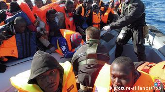 Flüchtlinge in Lampedusa Italien Februar 2014