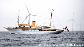 Offshore wind farm at Anholt with the royal yacht