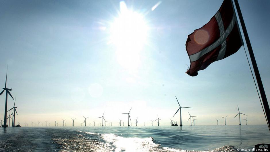 hundreds of windmills in the ocean behind denmark flag