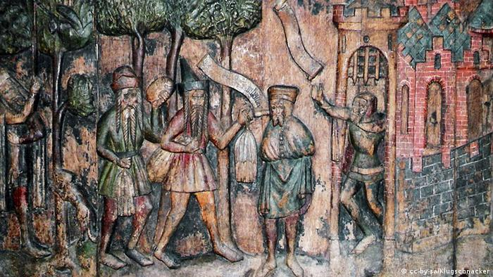 Фрагмент Новгородского рельефа в храме Николая Чудотворца в Штральзунде
