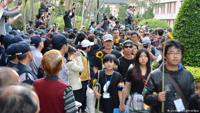 Studentenprotest gegen Freihandelsabkommen mit China in Taipeh, Taiwan (picture-alliance/dpa)