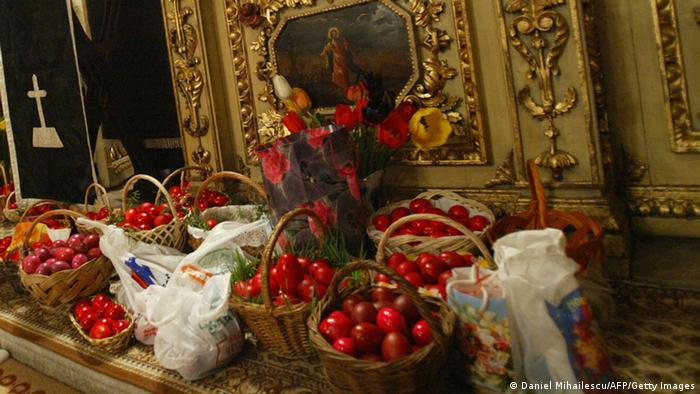 Ostern Gottesdienst Orthodoxe Kirche Ostereier Bukarest 2004