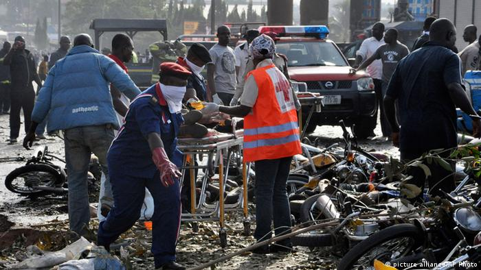 The scene after the Abuja bus station bomb blast