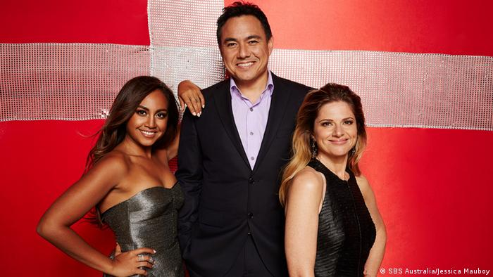 Jessica Mauboy (left) is pictured with Australian TV presenters Sam Pang and Julia Zemiro, Copyright: SBS Australia/Jessica Mauboy