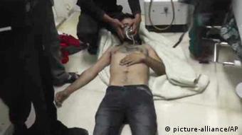 بیمارستانی در سوریه بعد از حمله شیمیایی در آوریل ۲۰۱۴