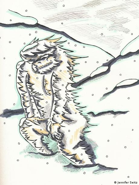 artist's impression of the Yeti, pen and paper work (Photo: Jennifer Seitz)