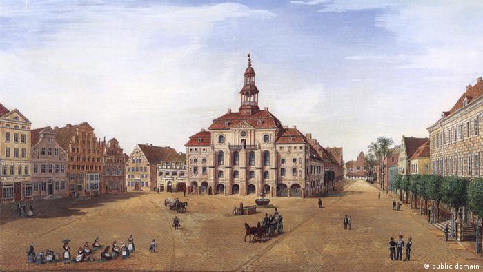 Барочный фасад ратуши Люнебурга на картине Фридриха Зольтау (Friedrich Soltau) 1850 года