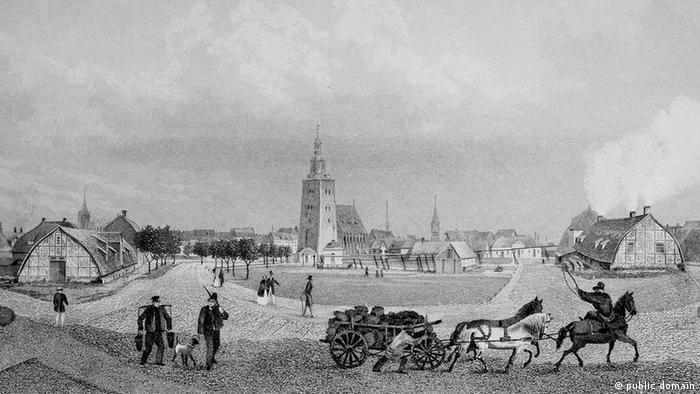 Гравюра Густава Георга Ланге (Gustav Georg Lange) XIX века с изображением солеварен в городе Люнебург