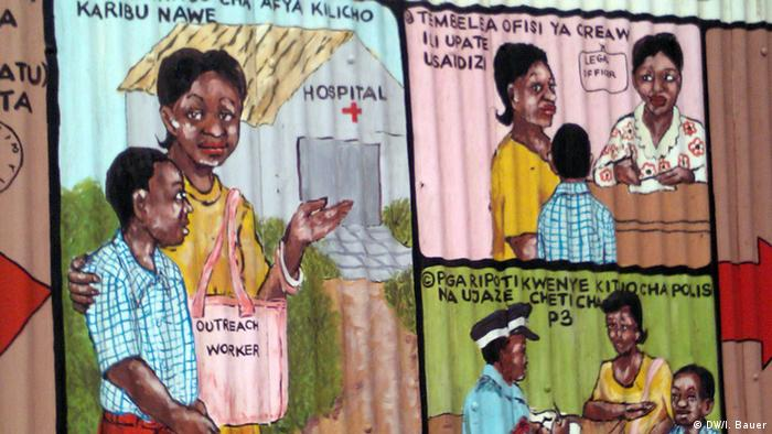 These pictures in Kibera explain how to report a crime to the police