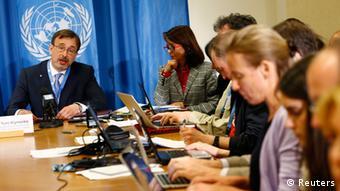 Der ukrainische Botschafter bei den Vereinten Nationen, Juri Klymenko - links im Bild auf einer Konferenz (Foto: Reuters)