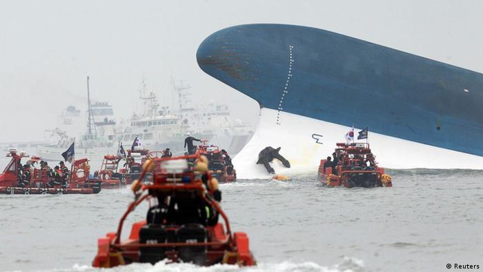 Die gesunkene Sewol hatte insgesamt 476 Menschen an Bord (Foto: rtr)