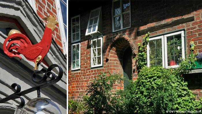Красный петух и внутренний дворик бывшего приюта для бедных в Люнебурге