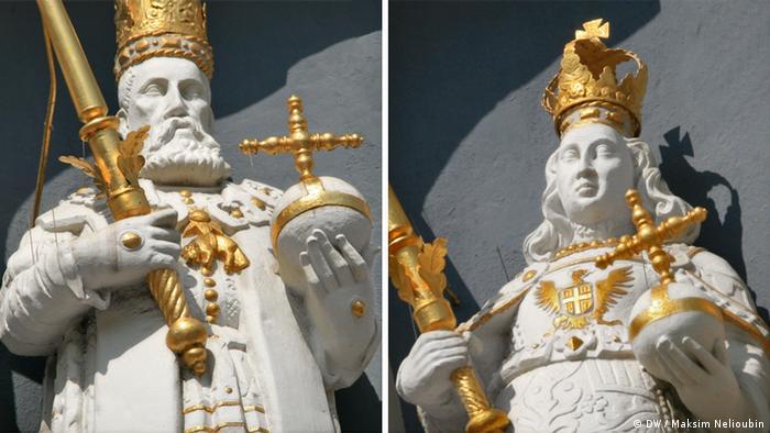 Скульптуры императоров и королей на фасаде ратуши в Люнебурге