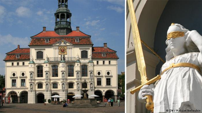 Барочный фасад ратуши Люнебурга со скульптурным изображением Фемиды