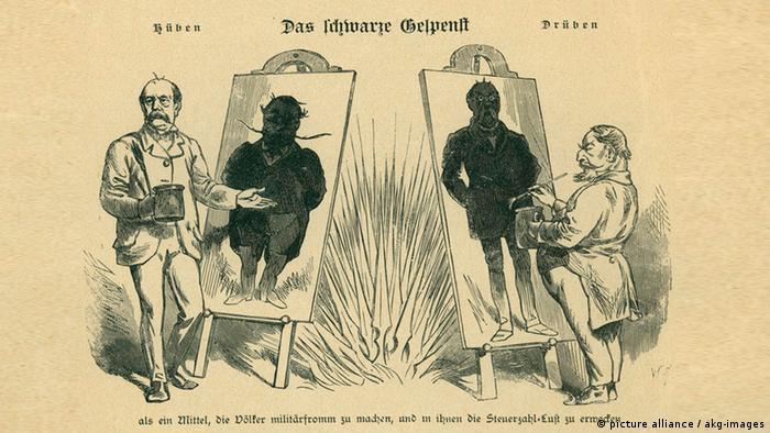 Отто фон Бисмарк и французский император Наполеон III рисуют друг друга в черных красках на карикатуре в журнале Kladderadatsch
