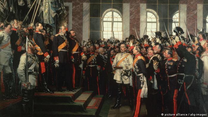 The painting Proclamation of the Kaiser by Anton von Werner, made in 1885, shows Kaiser Wilhelm I.standing on a stage surrounded by princes as officers and soldiers in the hall cheer on.