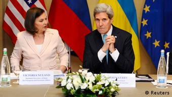 US Assistant Secretary of State for Europe Victoria Nuland and Secretary of State John Kerry at Ukraine foreign ministers conference in Geneva.