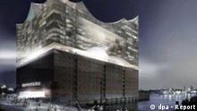 Die undatierte Computergrafik zeigt die geplante Elbphilharmonie nach dem Entwurf des Architektenbüros Herzog & de Meuron. Die Hamburger Bürgerschaft sollte am Mittwoch (26.10.2005) den Bau der Elbphilharmonie in der HafenCity beschließen. Die geplante Konzerthalle auf einem ausgedienten Kaispeicher soll bis 2009 fertig gestellt sein. Der futuristische Glasbau auf dem alten Kakaospeicher, in dem ein Hotel und Appartements entstehen sollen, kostet rund 186 Millionen Euro. Auf die Konzerthalle entfallen rund 77 Millionen Euro. dpa/lno +++(c) dpa - Report