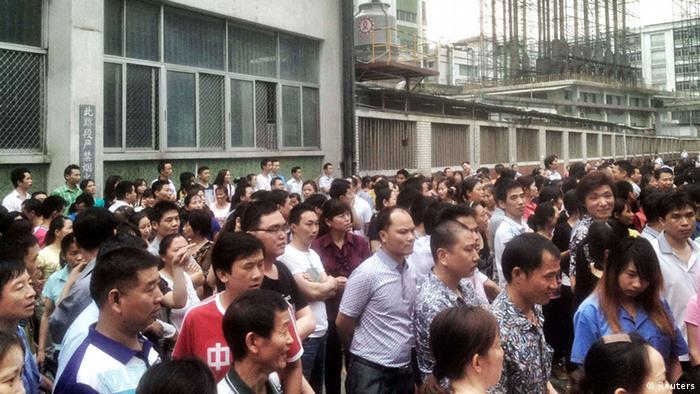 Streik in Schuhfabrik in Dongguan, China (foto: reuters)