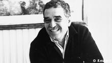 Colombian Nobel Prize laureate Gabriel Garcia Marquez celebrates the 20th anniversary of his novel 100 Years of Solitude in Bogota in this June, 1987 file photo. Garcia Marquez, the Colombian author whose beguiling stories of love and longing brought Latin America to life for millions of readers and put magical realism on the literary map, died on April 17, 2014. He was 87. Known affectionately to friends and fans as Gabo, he is arguably Latin America's best-known author and his books have sold in the tens of millions. REUTERS/Stringer/Files (COLOMBIA - Tags: SOCIETY OBITUARY)