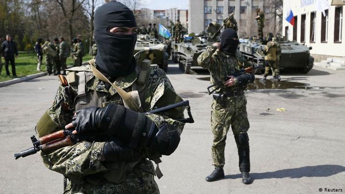 Presuntos separatistas prorruosos en el este de Ucrania.