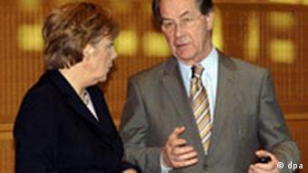 Koalitionsverhandlungen - Merkel und Müntefering