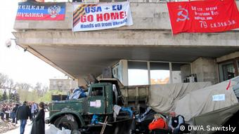 Protesters at a government building in Donetsk