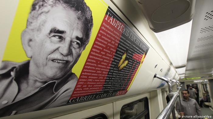 Poster des kolumbianischen Autors Gabriel Garcia Marquez in Moskau (picture-alliance/dpa)