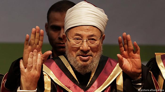 الشيخ المصري الأصل يوسف القرضاوي، الذي يحمل الجنسية القطرية
