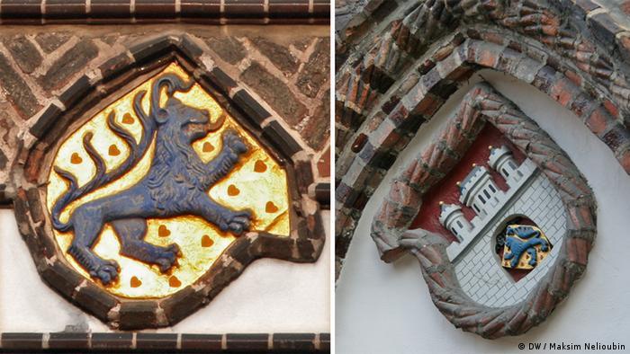 Гербы рода Вельфов и Люнебурга на фасаде ратуши