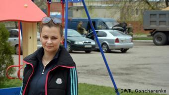 Young mother Julia in Slavyansk (Photo: DW/R. Goncharenko)