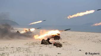 Nordkorea Militärübung Raketen