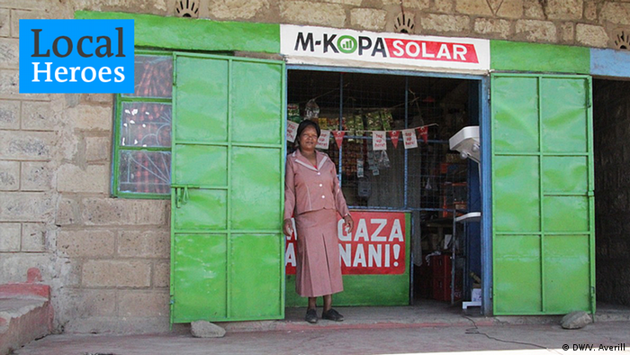 M-Kopa solar energy being sold in a small shop in Kenya