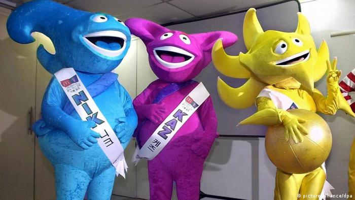 Bildergalerie WM-Maskottchen Nik, Kaz und Ato 2002