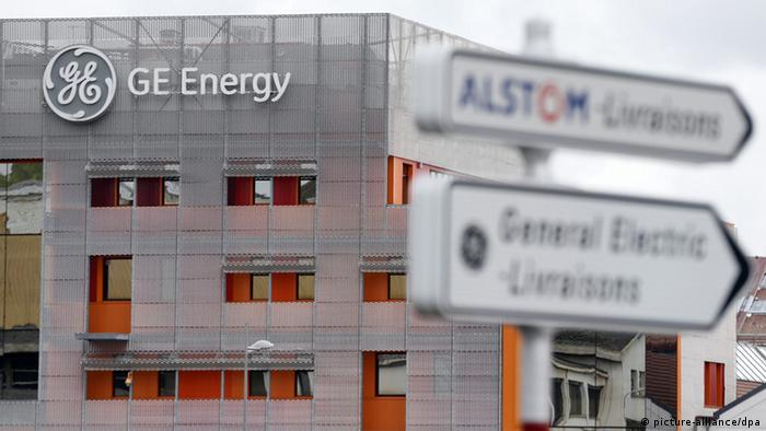 Alstom and General Electric signs next to each other in France