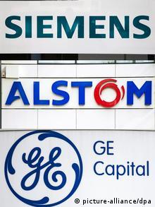 Logos Alstom und Siemens und General Electric