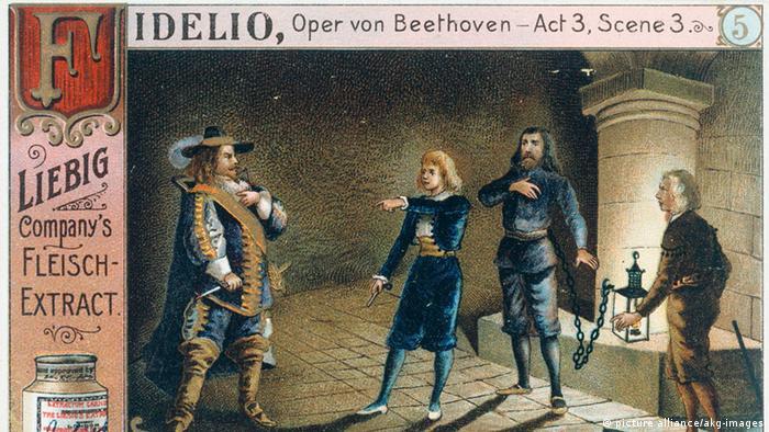 Sammelbildchen der Liebig Company's Fleisch-Extract zum 3. Akt, 3. Szene von Beethovens Oper Fidelio (Foto: picture alliance/akg-Images)