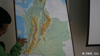 Mapa de Colombia: El Cauca, al suroeste del país.