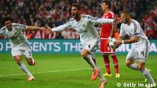 MUNICH, GERMANY - APRIL 29: Sergio Ramos of Real Madrid (C) celebrates as scores their second goal during the UEFA Champions League semi-final second leg match between FC Bayern Muenchen and Real Madrid at Allianz Arena on April 29, 2014 in Munich, Germany. (Photo by Alex Grimm/Bongarts/Getty Images)