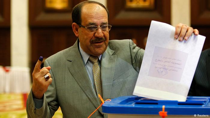 Irak Wahlen Ministerpräsident Nuri al-Maliki in Bagdad Wahllokal