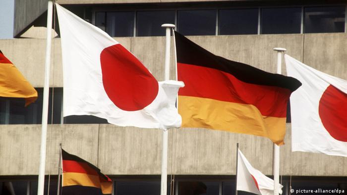 Deutschland Japan Nationalflaggen
