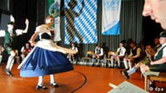A Bavarian folk dancing competition