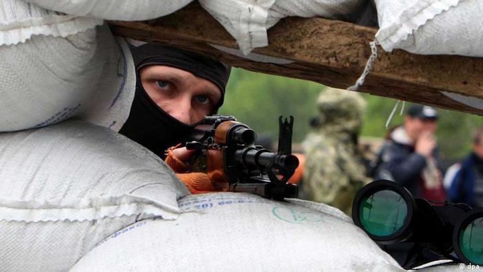 Separatistas prorrusos en Swjatogorsk, Ucrania.