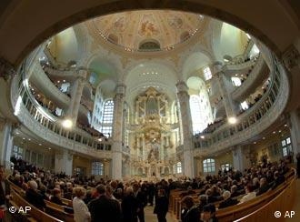 The interior of the restored Church of Our Lady cathedral in Dresden