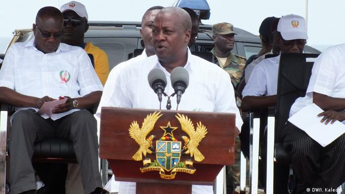 President Mahama speaking at a ralley in Accra