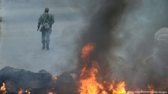 Огонь у въезда в Славянск