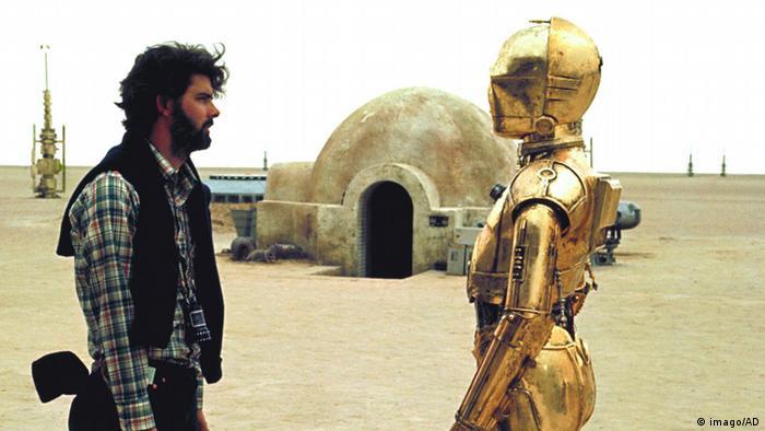 Bildergalerie Star Wars Filmset George Lucas und 3PO