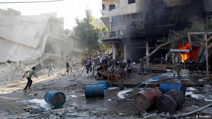 Aftermath of a bomb attack on Aleppo